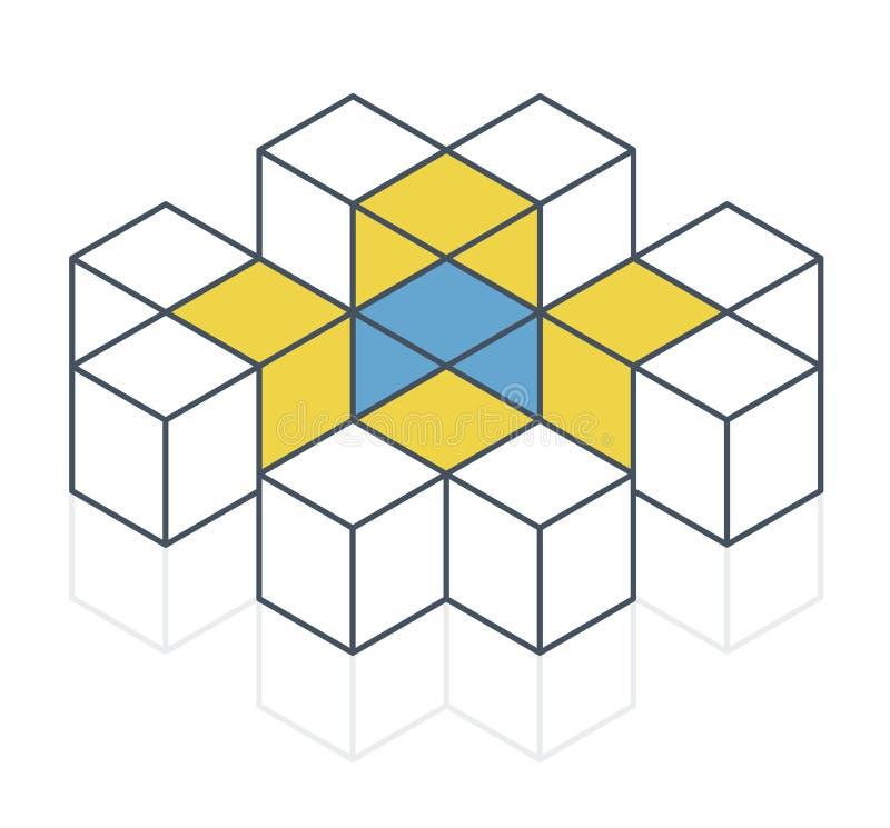 Forma astratta di vettore del cubo Marca isometrica descritta di istituzione scientifica, forma minimalistic del blocco illustrazione di stock
