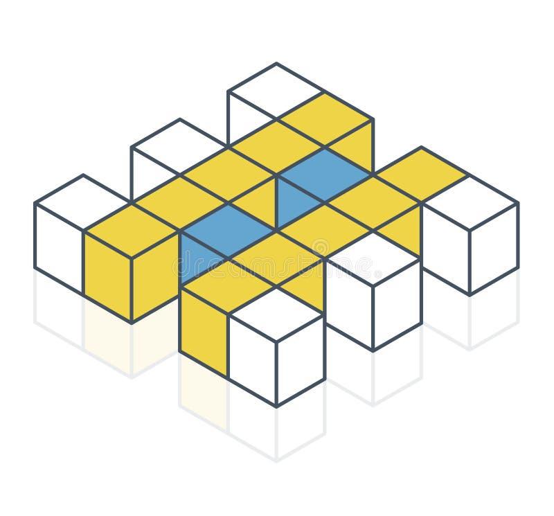 Forma astratta di vettore del cubo Marca isometrica descritta di istituzione scientifica, forma minimalistic del blocco illustrazione vettoriale