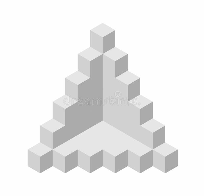 Forma astratta di vettore del cubo Marca isometrica di istituzione scientifica, forma minimalistic del blocco illustrazione di stock