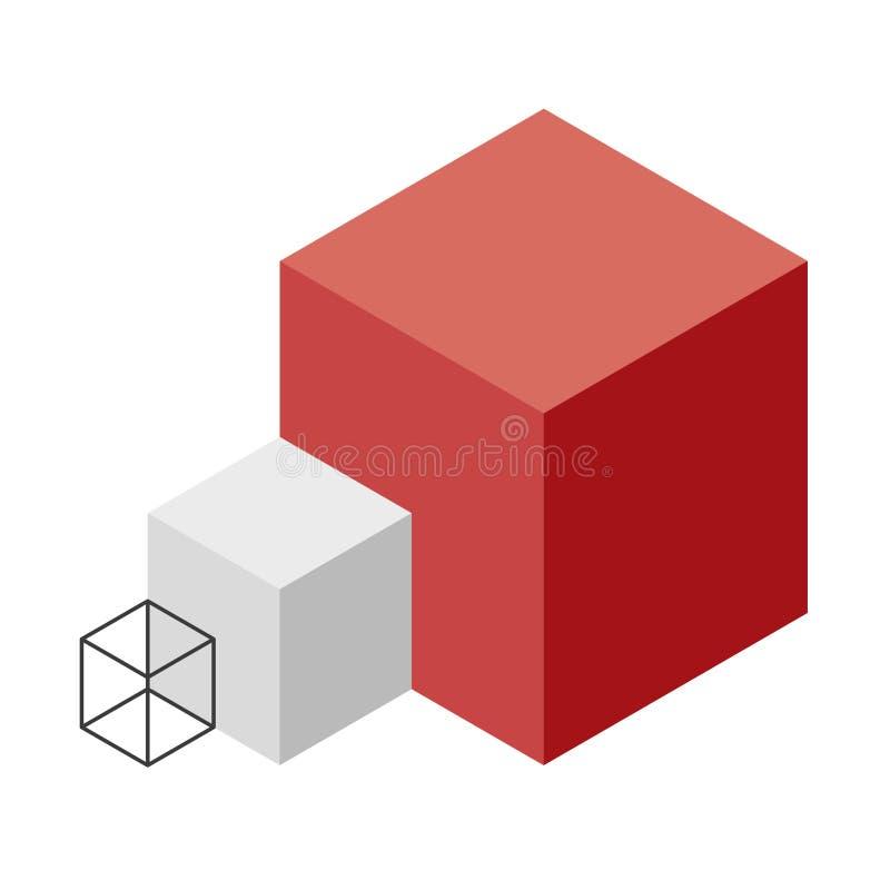 Forma astratta di vettore del cubo Marca isometrica di istituzione scientifica, forma minimalistic del blocco illustrazione vettoriale