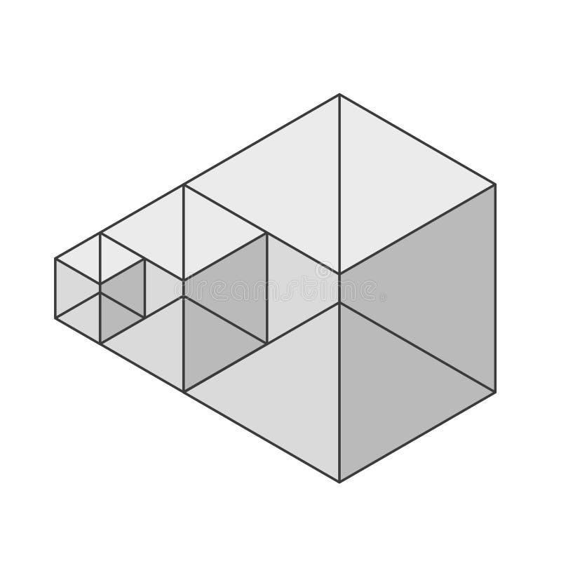 Forma astratta di vettore del cubo Marca isometrica di istituzione scientifica, forma minimalistic del blocco royalty illustrazione gratis