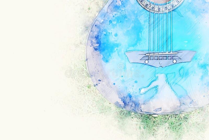 Forma azul abstrata da cor na guitarra acústica no fundo de pintura da aquarela do primeiro plano ilustração royalty free