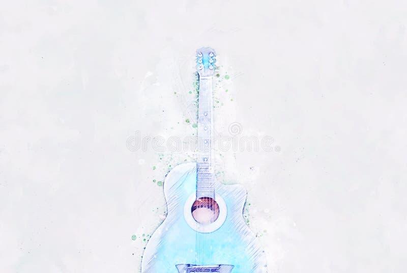 Forma azul abstrata da cor na guitarra acústica no fundo de pintura da aquarela do primeiro plano ilustração do vetor
