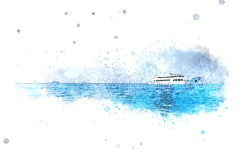Forma azul abstrata da cor no barco da velocidade no oceano na pintura da ilustração da aquarela ilustração royalty free