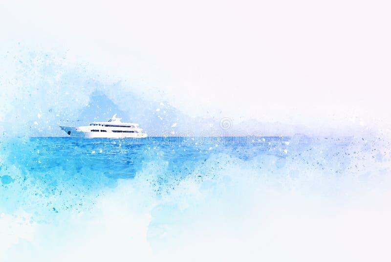 Forma azul abstrata da cor no barco da velocidade no oceano na pintura da ilustra??o da aquarela ilustração stock