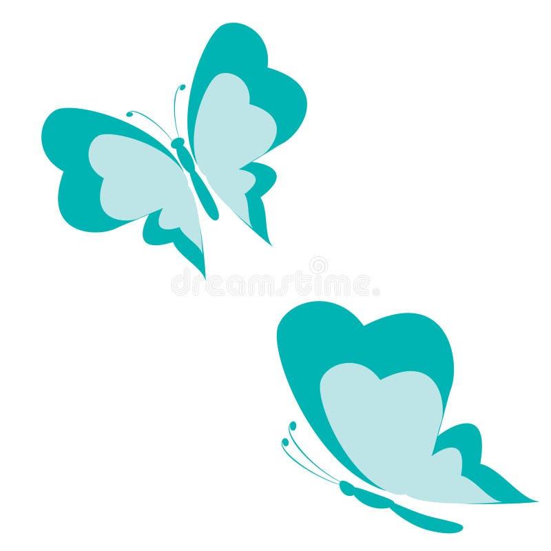 Forma azul de la mariposa stock de ilustración