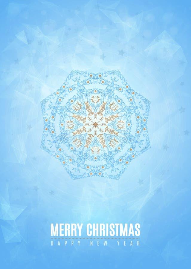Forma azul del copo de nieve del invierno de la suposición de la Feliz Año Nuevo de la Feliz Navidad en estilo tribal Vector Eps1 stock de ilustración