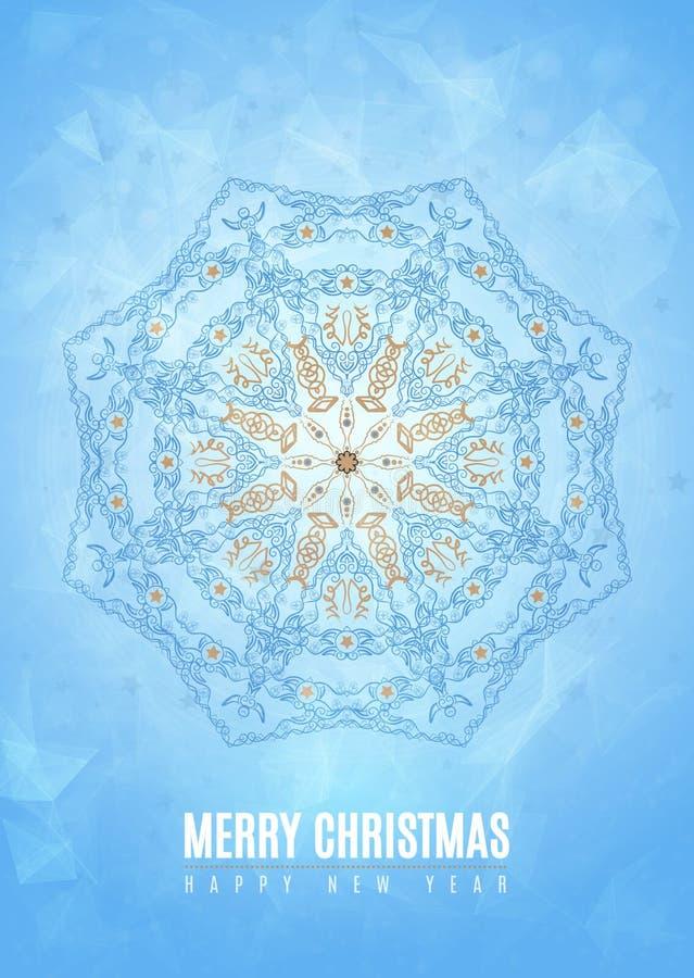 Forma azul del copo de nieve del invierno de la suposición de la Feliz Año Nuevo de la Feliz Navidad en estilo tribal Vector Eps1 ilustración del vector