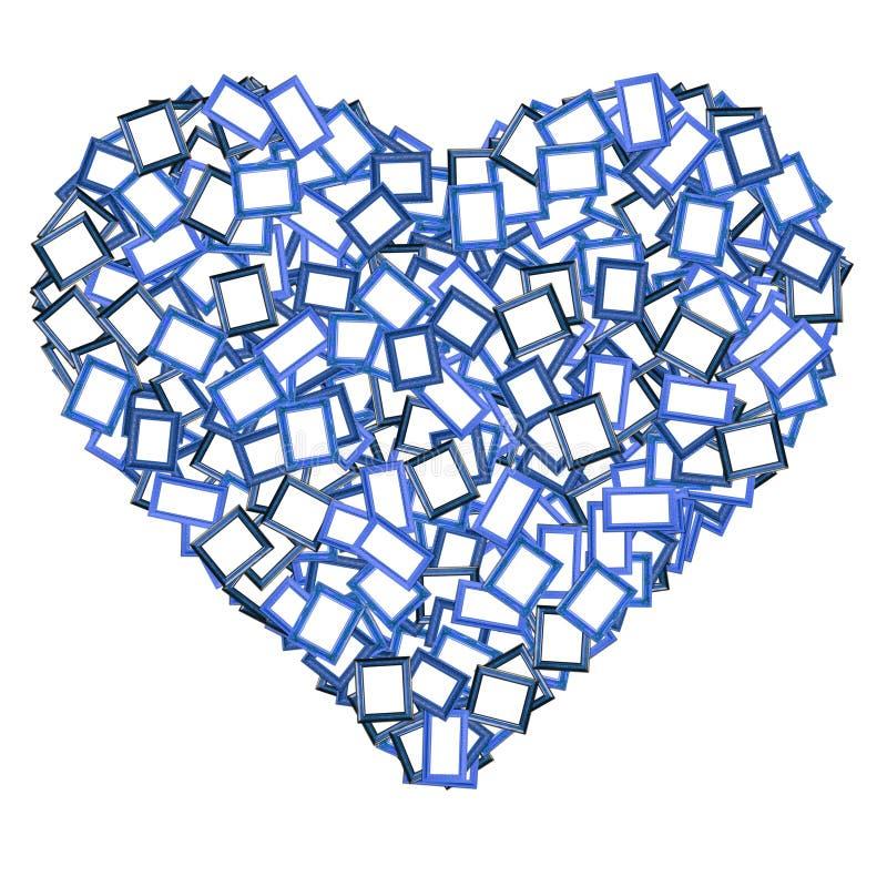 Forma azul do coração do frame da foto ilustração do vetor