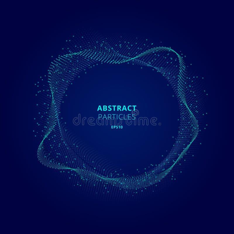 Forma azul iluminada sumário do círculo da disposição das partículas no conceito escuro da tecnologia do fundo Explos?o de Digita ilustração do vetor