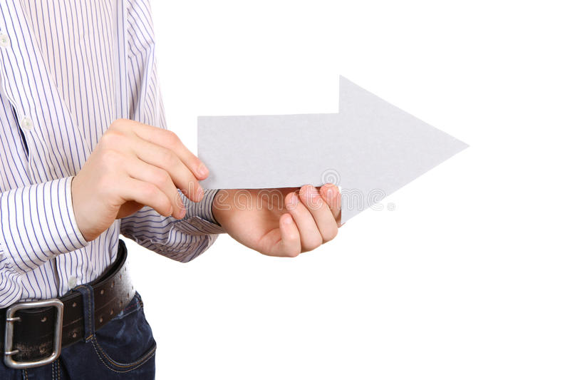 Forma blanca de la flecha del control de la persona imagen de archivo libre de regalías