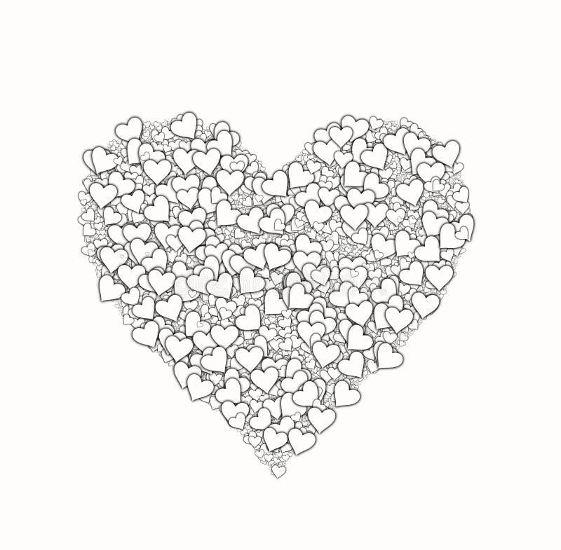 Forma blanca del corazón de pequeño muchos corazones Símbolo del amor ilustración del vector