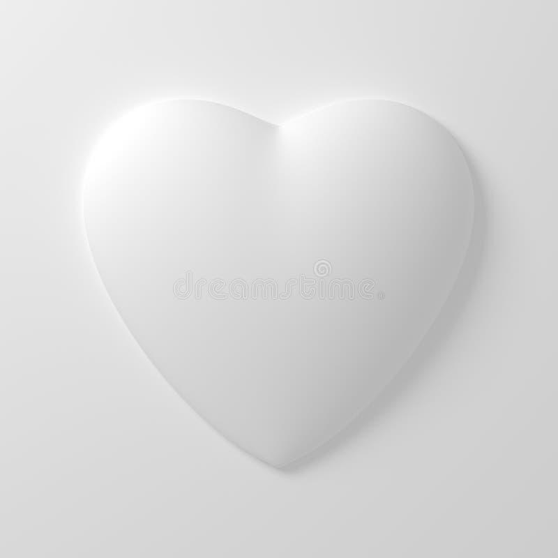 Forma blanca del corazón en el fondo blanco stock de ilustración
