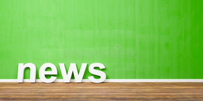 forma blanca del texto de las noticias 3D en el piso de madera de Brown contra la pared verde con Copyspace - ejemplo 3D ilustración del vector