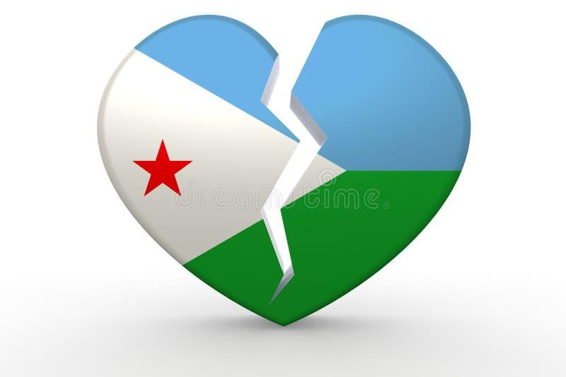 Forma blanca quebrada del corazón con la bandera de Djibouti ilustración del vector