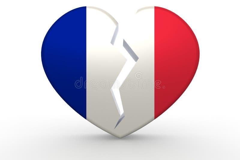 Forma blanca quebrada del corazón con la bandera de Francia stock de ilustración