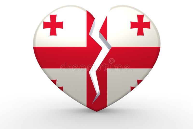 Forma blanca quebrada del corazón con la bandera de Georgia ilustración del vector