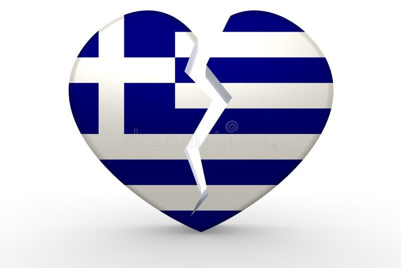 Forma blanca quebrada del corazón con la bandera de Grecia stock de ilustración