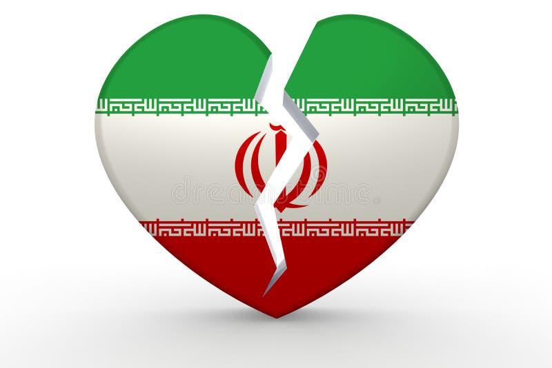 Forma blanca quebrada del corazón con la bandera de Irán ilustración del vector