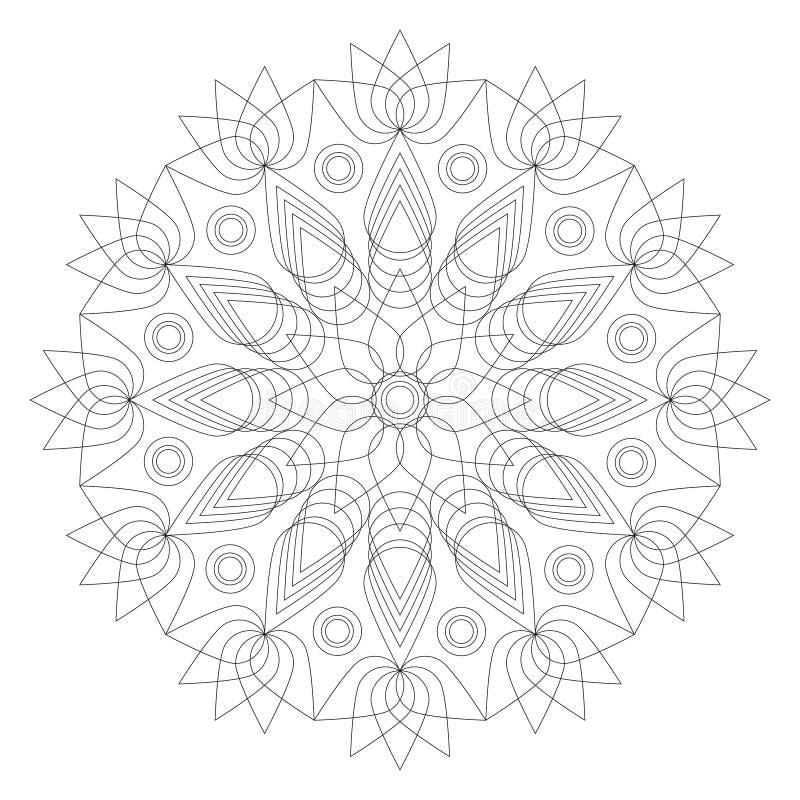 Forma blanco y negro de la flor de loto de la mandala - página adulta del libro de colorear ilustración del vector