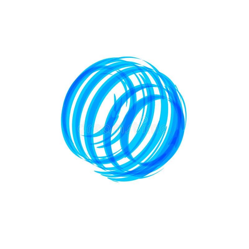 Forma blu astratta del cerchio, concetto di logo Modello dell'icona della rete globale Emblema rotondo blu su fondo bianco, isola illustrazione vettoriale