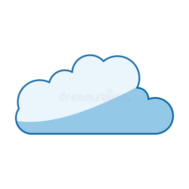 Forma blu della nuvola della siluetta di ombreggiatura di colore nell'icona del cumulo illustrazione di stock