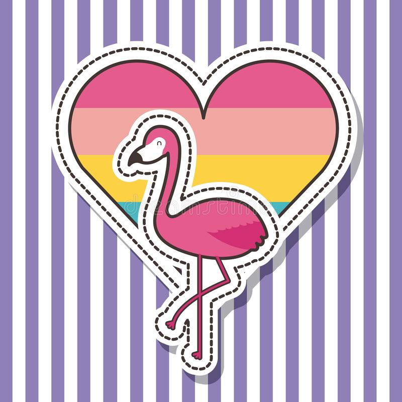 Forma bonito do coração do pássaro do flamingo do crachá dos remendos ilustração stock