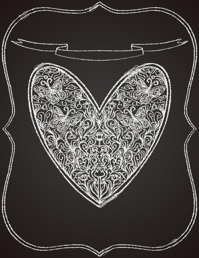 Forma branca do coração na placa de giz preta ilustração stock