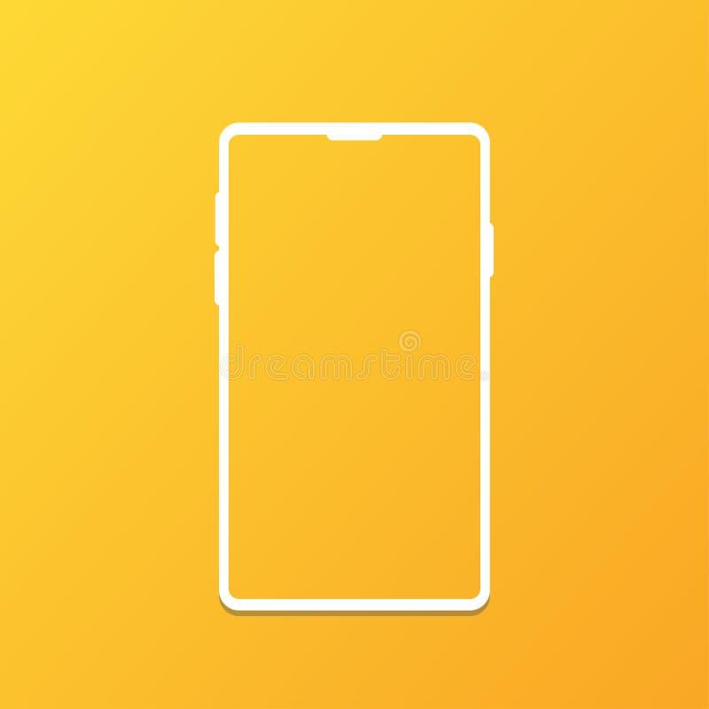 forma branca do fundo do inclinação do telefone celular ilustração royalty free