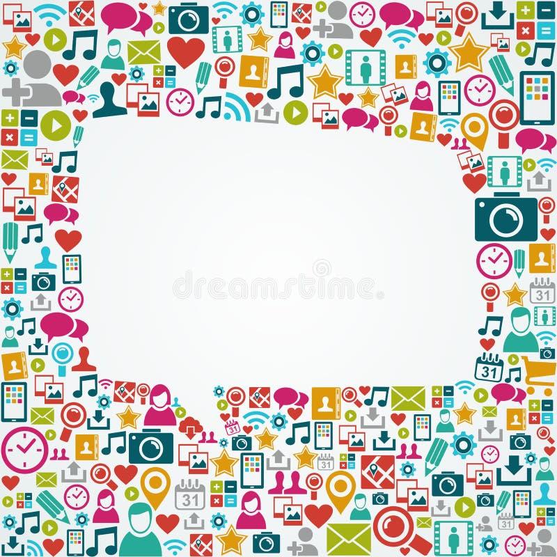 Forma branca EPS10 da bolha do discurso dos ícones sociais dos meios ilustração stock