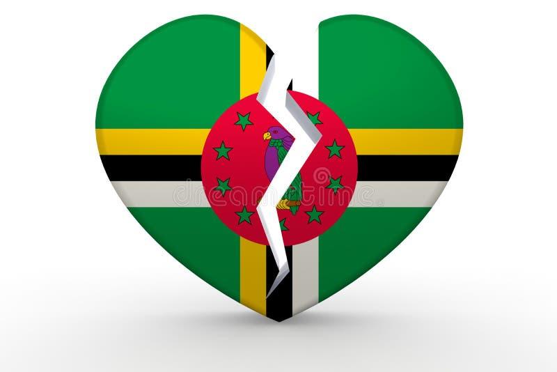 Forma branca quebrada do coração com bandeira de Domínica ilustração do vetor