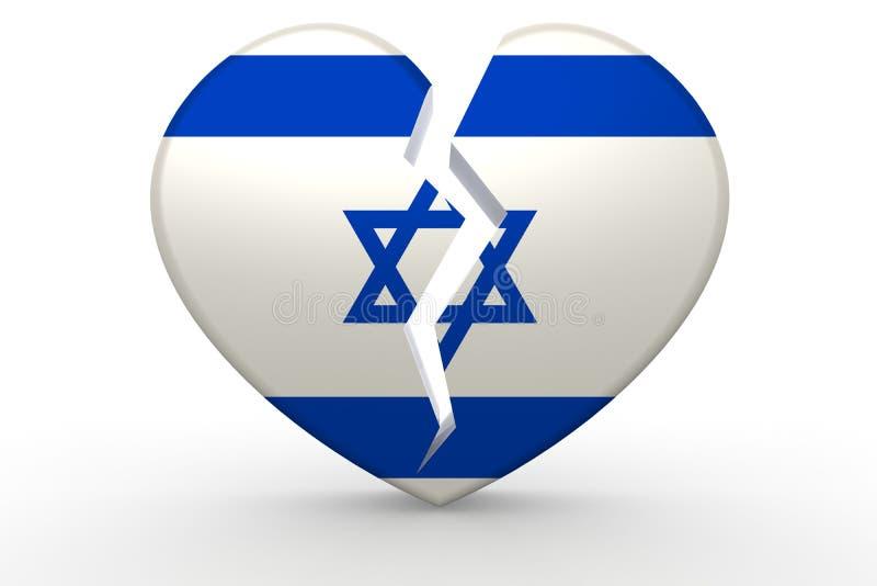 Forma branca quebrada do coração com bandeira de Israel ilustração stock