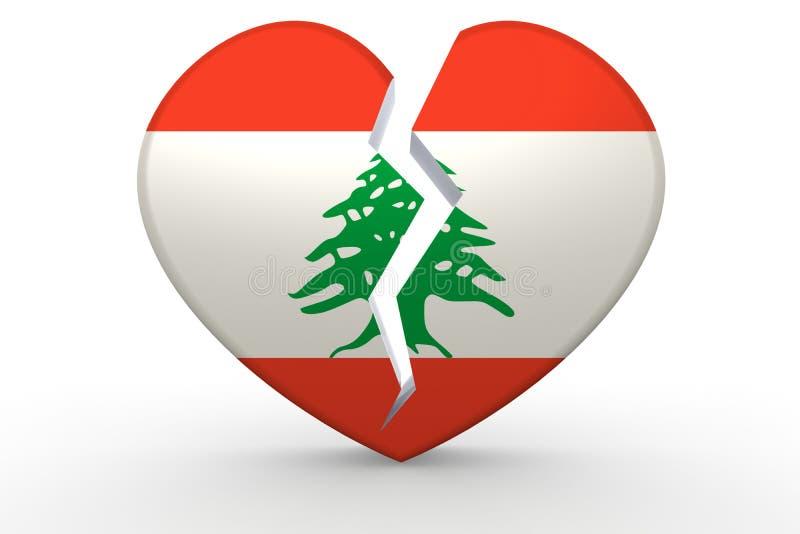 Forma branca quebrada do coração com bandeira de Líbano ilustração royalty free