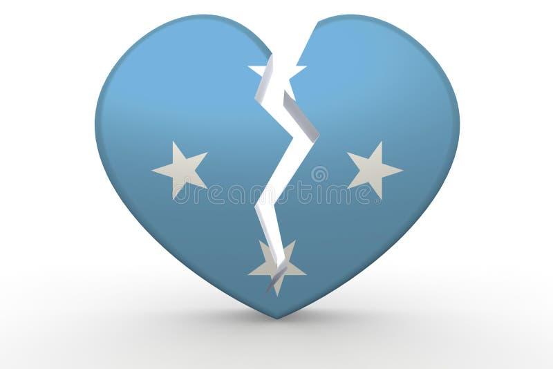 Forma branca quebrada do coração com bandeira de Micronésia ilustração stock