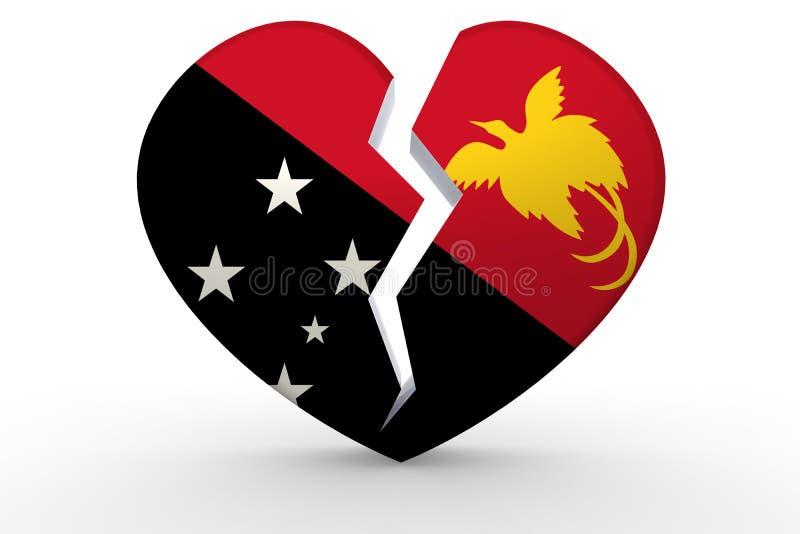 Forma branca quebrada do coração com bandeira de Papuásia-Nova Guiné ilustração stock