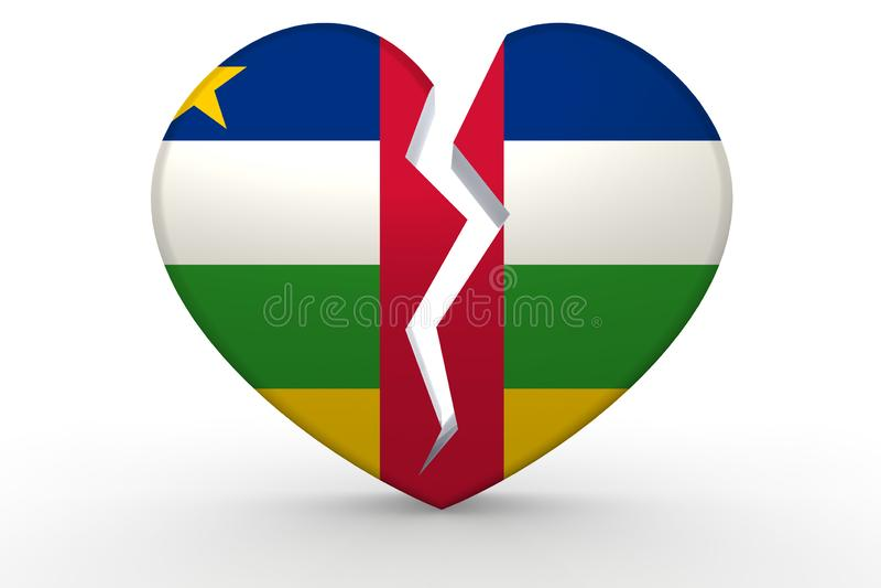 Forma branca quebrada do coração com bandeira de República Centro-Africana ilustração royalty free