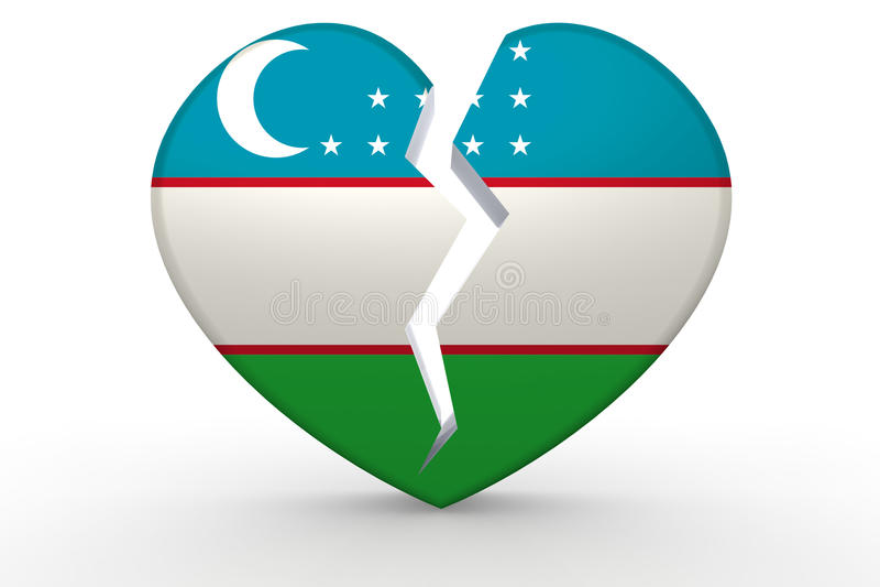 Forma branca quebrada do coração com bandeira de Usbequistão ilustração stock