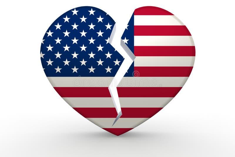 Forma branca quebrada do coração com bandeira do Estados Unidos ilustração stock