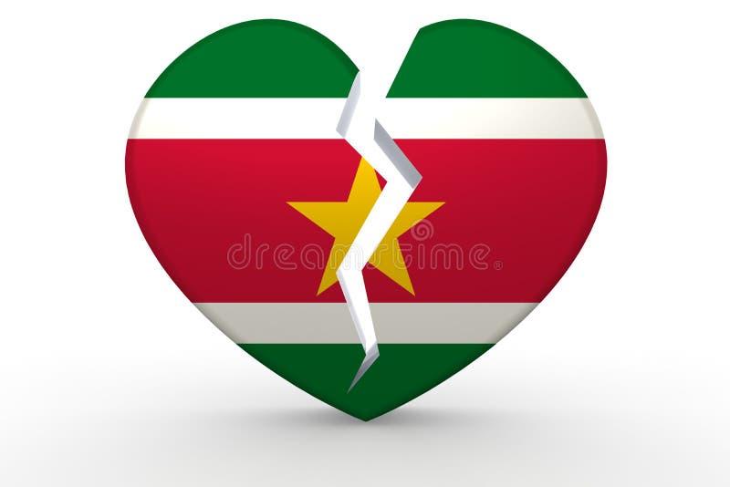 Forma branca quebrada do coração com bandeira do Suriname ilustração royalty free