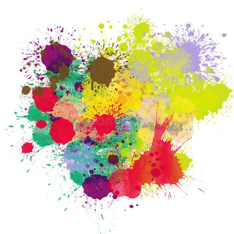 A forma brilhante multicolorido das gotas do respingo da tinta das cores chapinha o molde do elemento do projeto isolado no fundo ilustração royalty free