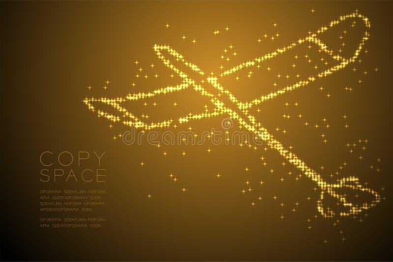 Forma brillante abstracta del avión del planeador del modelo de estrella, ejemplo de color oro del diseño de concepto del viaje d ilustración del vector