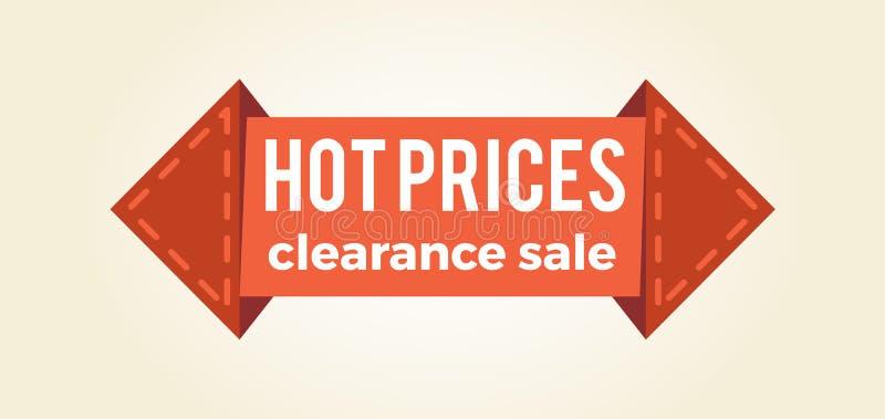 Forma caliente de la flecha de la etiqueta del promo de la liquidación de los precios libre illustration