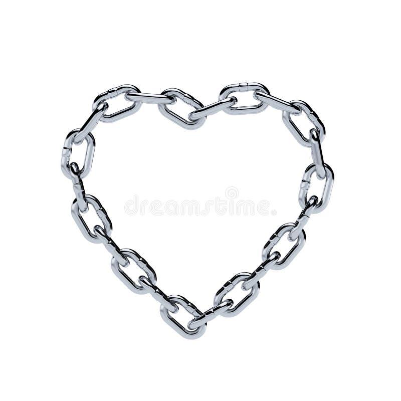 Forma a catena del cuore della struttura del metallo del cromo illustrazione di stock