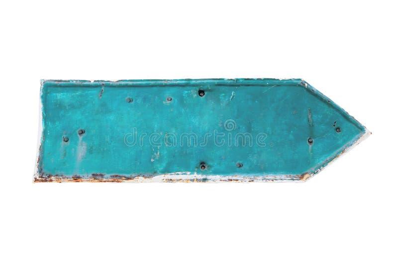 Forma ciana da seta da cor de uma placa oxidada e do grunge do metal do ferro com revestimento da casca fotos de stock