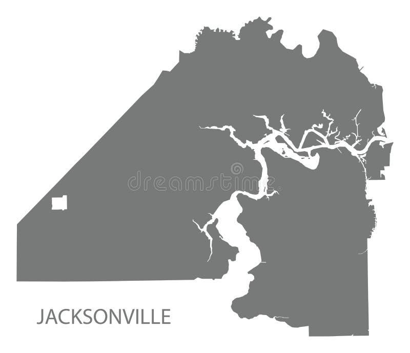 Forma cinzenta da silhueta da ilustração do mapa da cidade de Jacksonville Florida ilustração stock