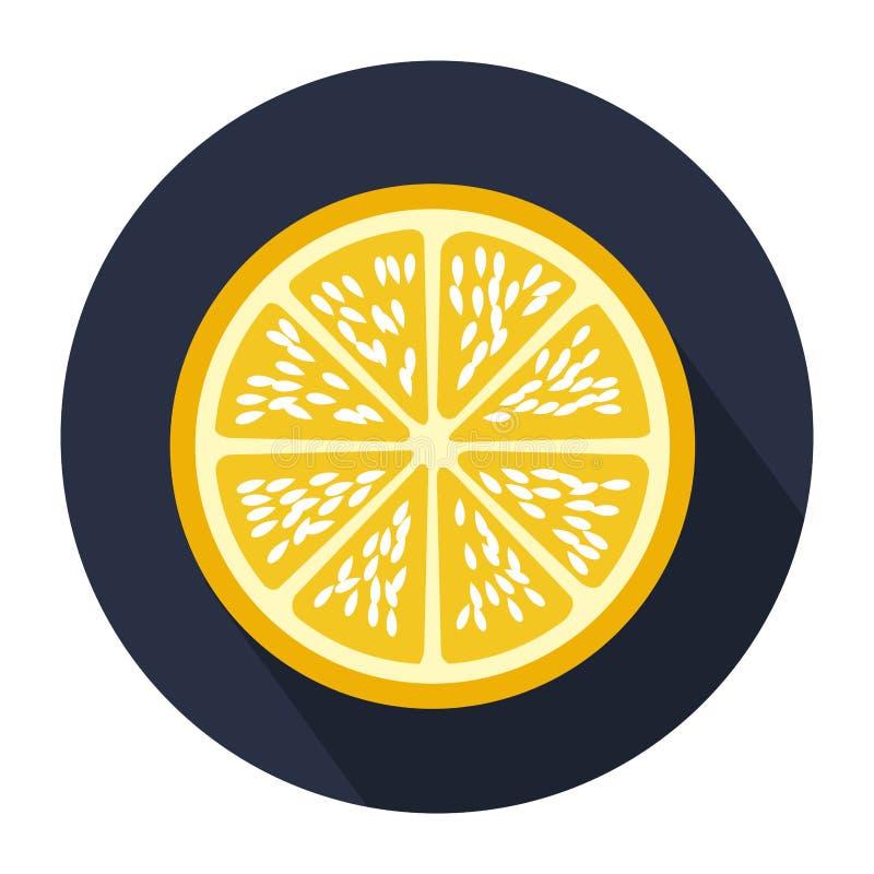forma circular azul marino con la fruta de la naranja de la rebanada ilustración del vector