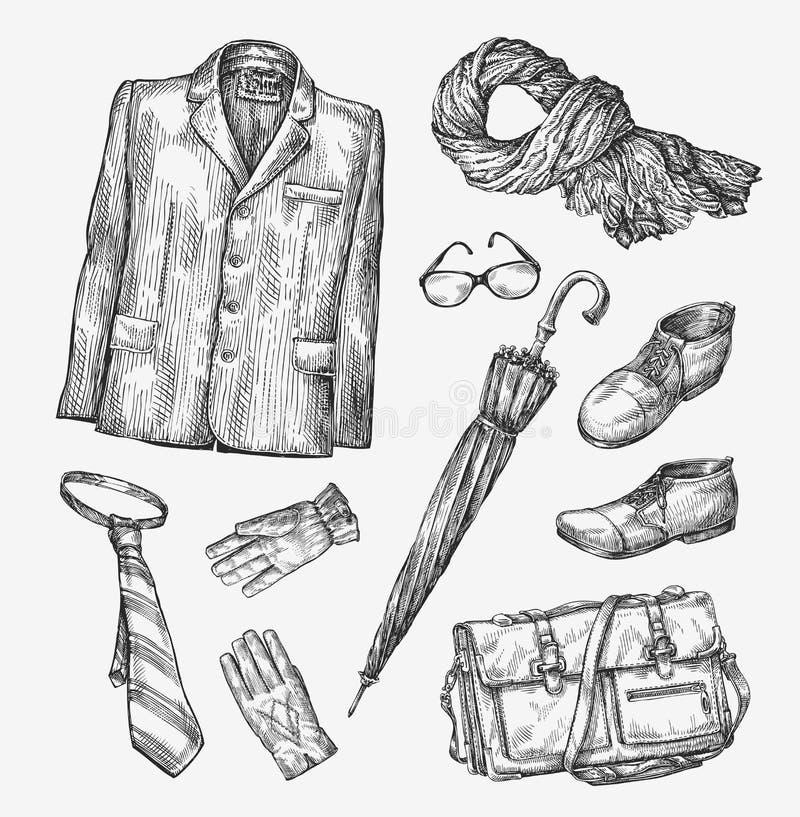 Forma Coleção do vetor da roupa dos homens Guarda-chuva desenhado à mão do esboço, laço, sapatas, vidros, luvas, saco, lenço, rev ilustração do vetor