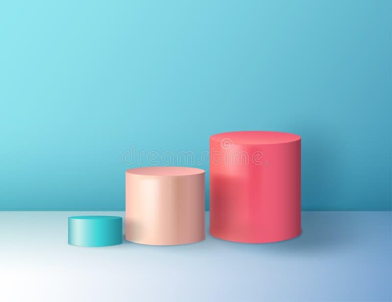 Forma colorida abstrata mínima do cilindro, cena da parede ilustração stock
