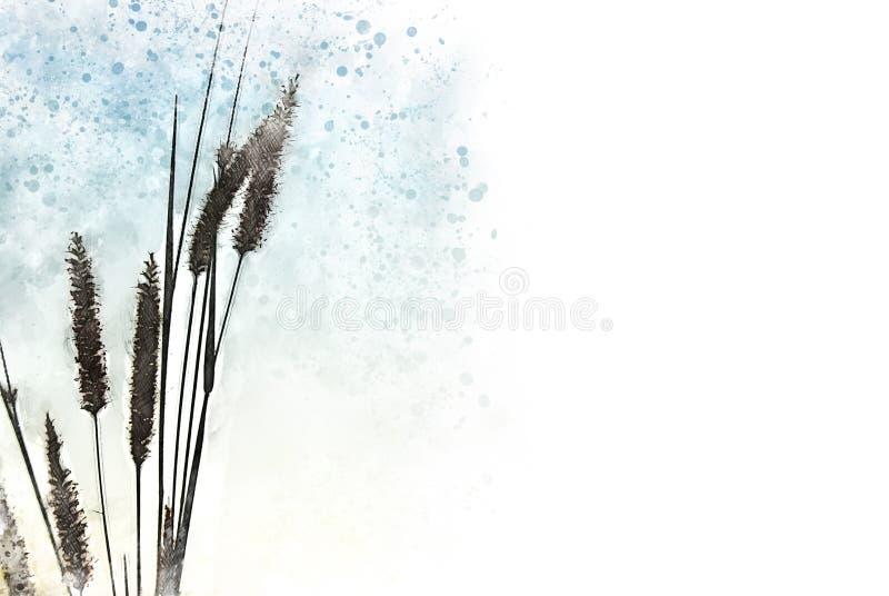 Forma colorida abstrata na flor da grama no fundo da pintura da ilustração da aquarela ilustração stock