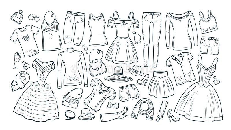 Forma, compra, ícones ajustados do boutique Coleção da roupa do ` s das mulheres elegantes Ilustração do vetor ilustração do vetor